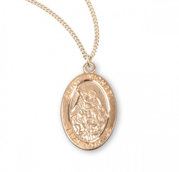 St. Michael Oval Shaped Medal 14kt Gold Plated - Gold