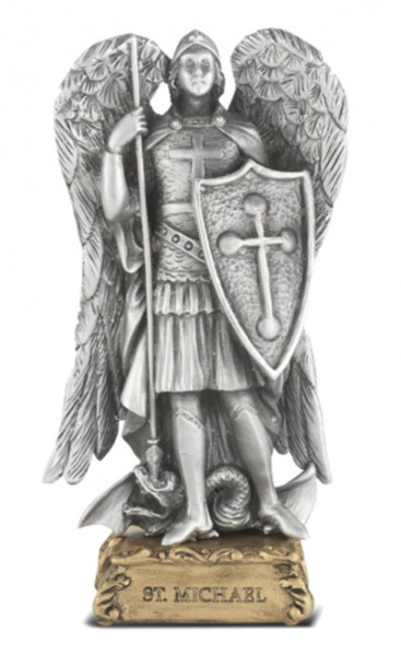 Saint Michael Pewter Statue 4 Inch - Pewter