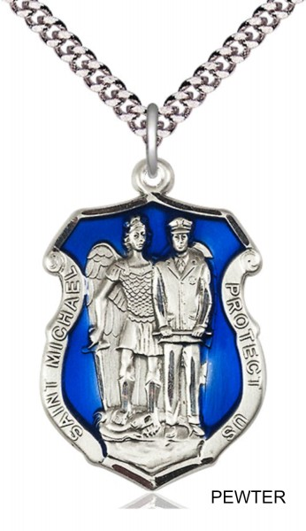 St. Michael and Police Shield Blue Epoxy Necklace - Pewter
