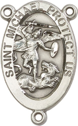 St. Michael Rosary Centerpiece - Sterling Silver