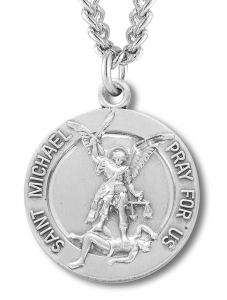 St. Michael Guardian Angel Round Medal Sterling Silver - Sterling Silver