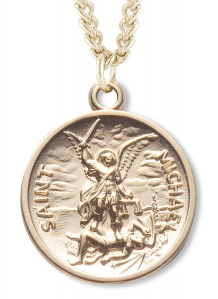 St. Michael Round Shaped Medal 16kt Gold Plated - Gold