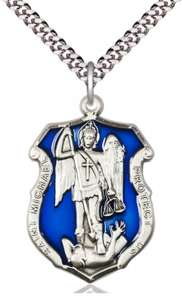St. Michael Shield Necklace with Blue Epoxy - Sterling Silver | Blue Enamel