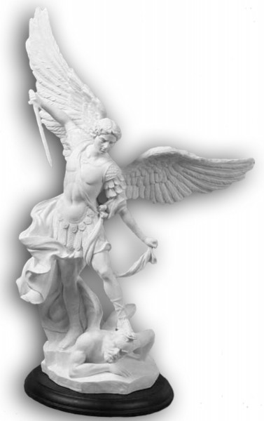 St. Michael Statue in White Resin on Base - 15 Inches - White