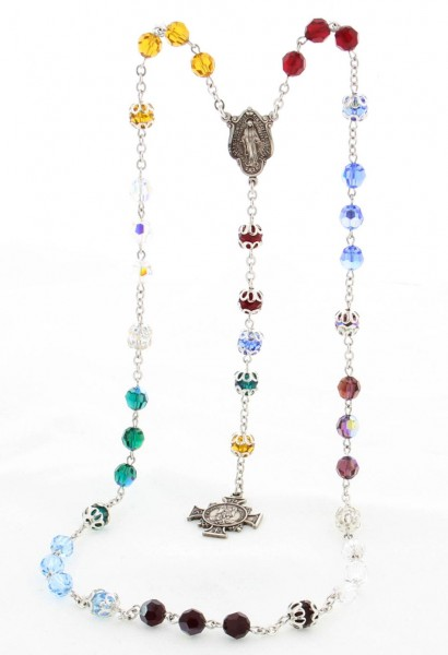 St. Michael Swarovski Crystal Chaplet Rosary - Multi-Color