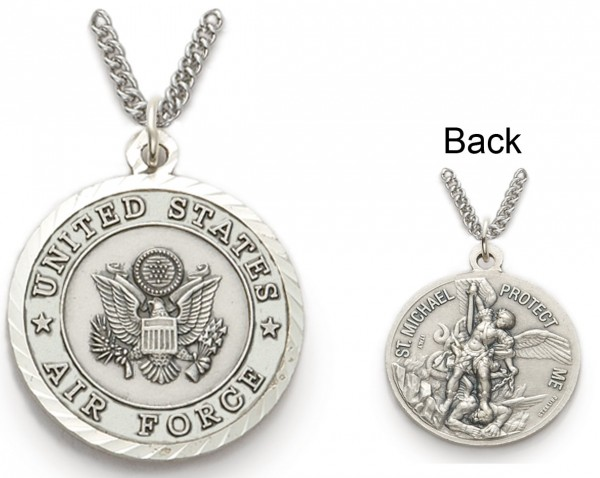 St. Michael U.S. Air Force Medal 1 inch with Chain - Silver