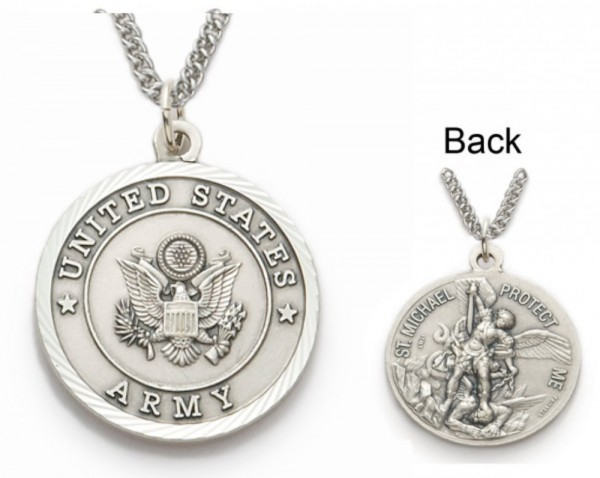 St. Michael U.S. Army Medal 1 inch with Chain - Silver