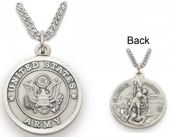 Womens St. Michael U.S. Army Medal 3/4 inch with Chain - Silver