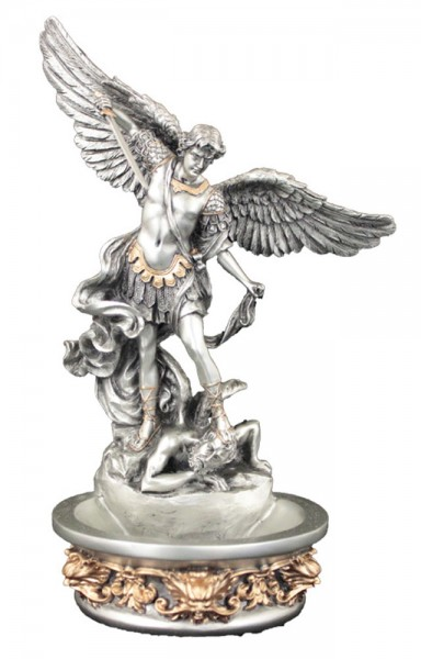 St. Michael Water Font, Silver Gold - 8 inch - Gold | Silver
