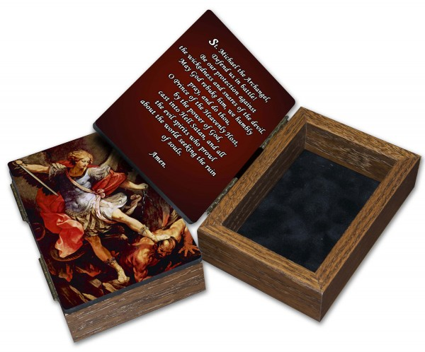 St. Michael Wood Keepsake Box - Brown