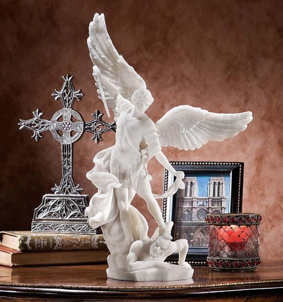 St. Michael the Archangel Marble Sculpture - White