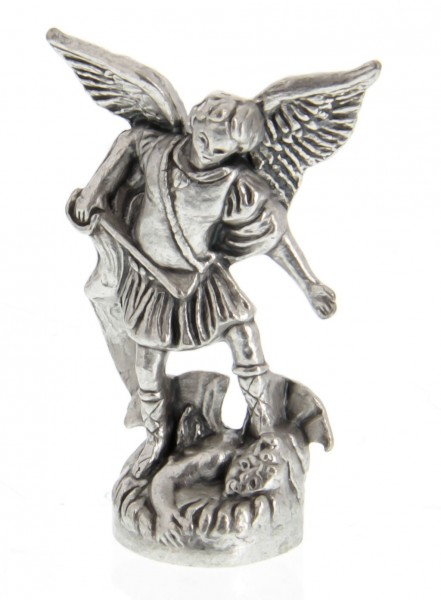St Michael the Archangel Pocket Statue with Holy Card - Multi-Color