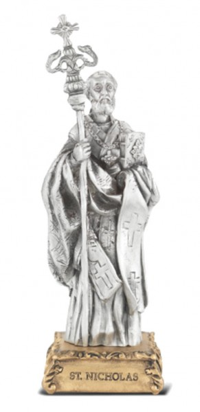 St. Nicholas Pewter Statue 4 Inch - Pewter