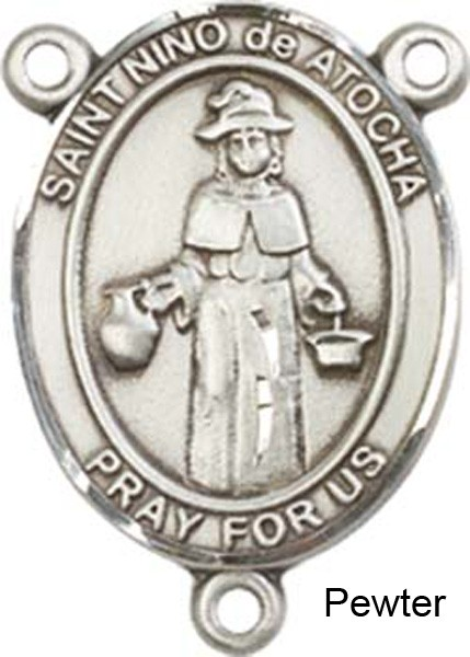 St. Nino De Atocha Rosary Centerpiece Sterling Silver or Pewter - Pewter