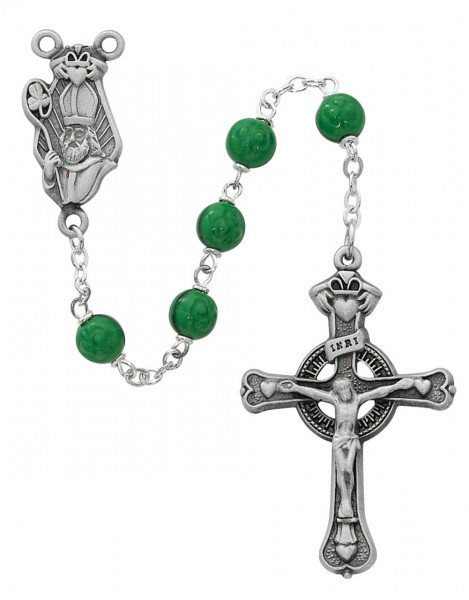 St. Patrick Green Glass Rosary Oxidized Silver - Green