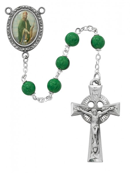 St. Patrick Green Glass Rosary - Green