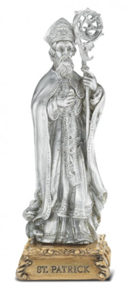 Saint Patrick Pewter Statue 4 Inch - Pewter