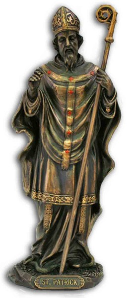 St. Patrick Statue, Bronzed Resin - 8 inch - Bronze