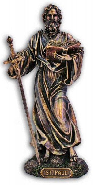 St. Paul Statue, Bronzed Resin - 8 inch - Bronze