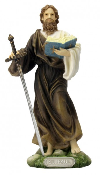 St. Paul Statue, Hand Painted - 8 inch - Full Color