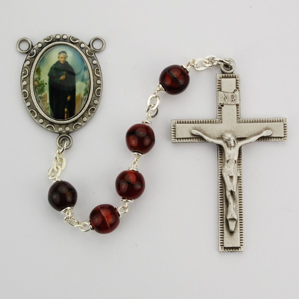 St. Peregrine Red Marble Glass Rosary - Red
