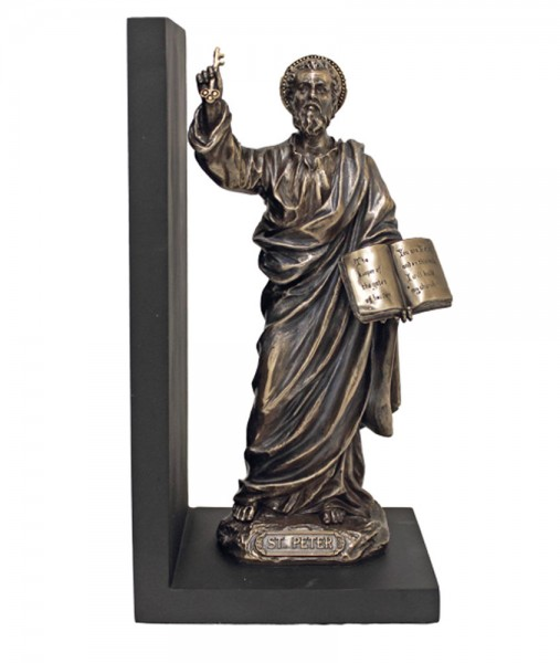 St. Peter Bookend, Bronzed Resin - 9.5 inch - Bronze