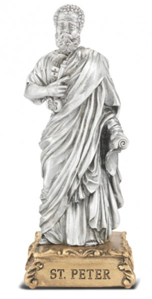St. Peter Pewter Statue 4 Inch - Pewter