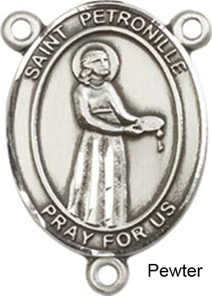 St. Petronille Rosary Centerpiece Sterling Silver or Pewter - Pewter