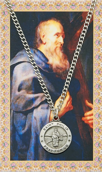 St. Philip Medal with Prayer Card - Silver tone