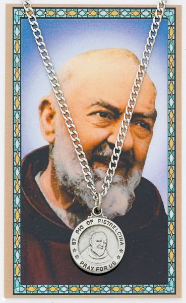 St. Pio Medal and Prayer Card Set - Pewter