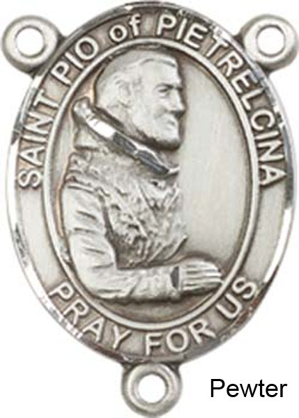 St. Pio of Pietrelcina Rosary Centerpiece Sterling Silver or Pewter - Pewter