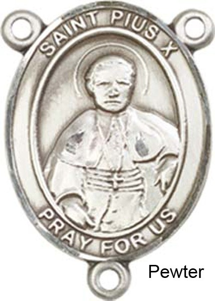 St. Pius X Rosary Centerpiece Sterling Silver or Pewter - Pewter
