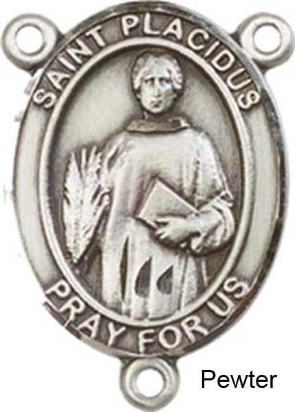 St. Placidus Rosary Centerpiece Sterling Silver or Pewter - Pewter