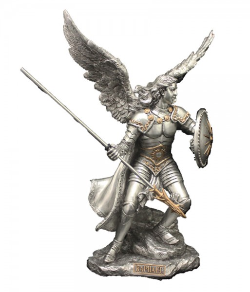 St. Raphael Statue, Silver Gold - 9 inches - Gold | Silver