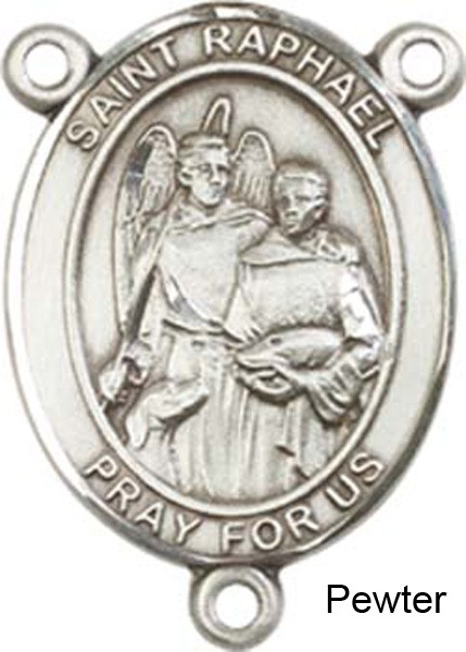St. Raphael the Archangel Rosary Centerpiece Sterling Silver or Pewter - Pewter