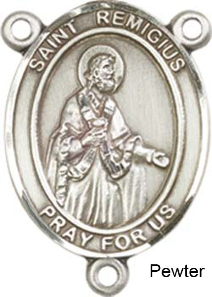 St. Remigius of Reims Rosary Centerpiece Sterling Silver or Pewter - Pewter