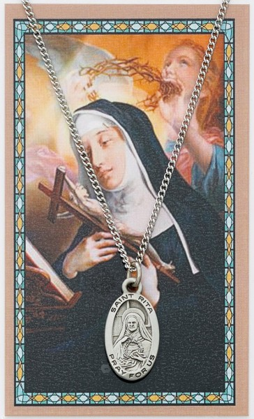 St. Rita of Cascia Medal with Prayer Card - Silver tone
