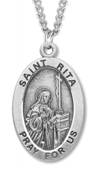 St. Rita Medal Sterling Silver - Silver