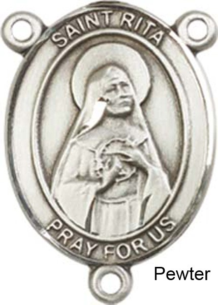 St. Rita of Cascia Rosary Centerpiece Sterling Silver or Pewter - Pewter