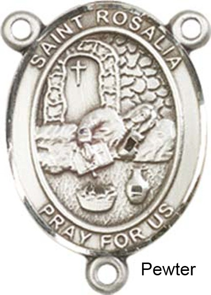 St. Rosalia Rosary Centerpiece Sterling Silver or Pewter - Pewter