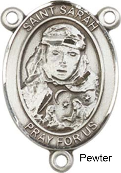 St. Sarah Rosary Centerpiece Sterling Silver or Pewter - Pewter