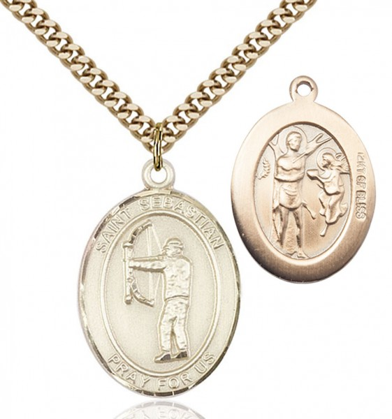 St. Sebastian Archery Medal - 14KT Gold Filled