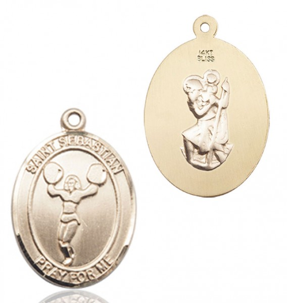 St. Sebastian Cheerleading Medal - 14K Yellow Gold