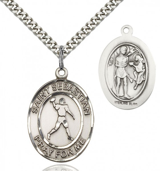 St. Sebastian Football Medal - Sterling Silver