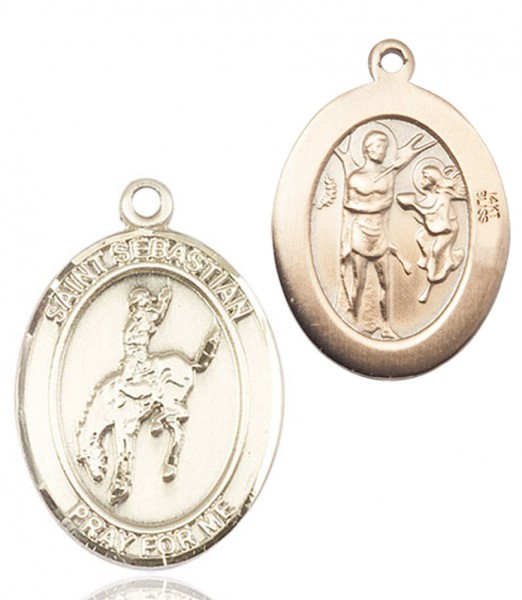 St. Sebastian Rodeo Medal - 14K Yellow Gold