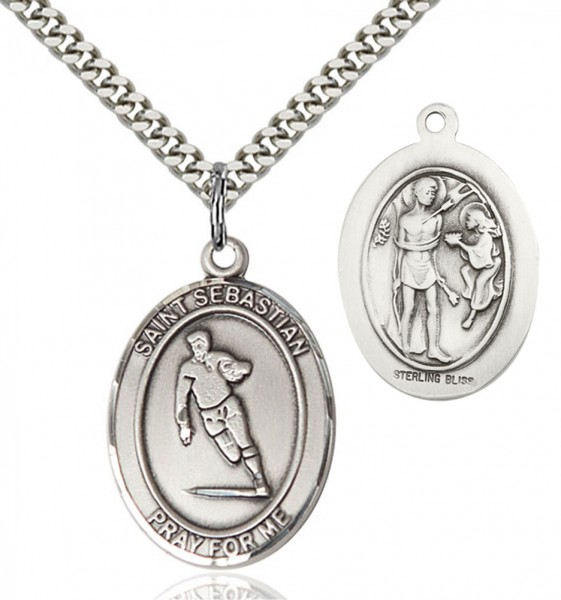 St. Sebastian Rugby Patron Saint Medal - Sterling Silver