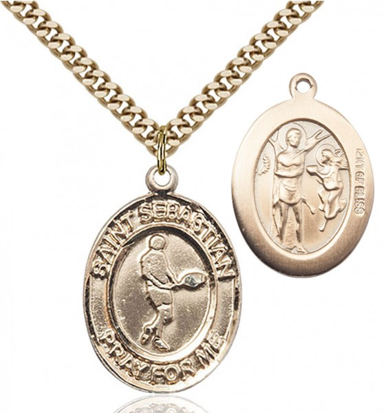 St. Sebastian Tennis Medal - 14KT Gold Filled