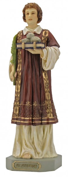 St. Stephen Statue, Hand Painted - 9 inch - Full Color