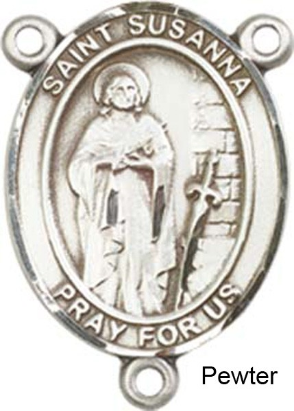 St. Susanna Rosary Centerpiece Sterling Silver or Pewter - Pewter