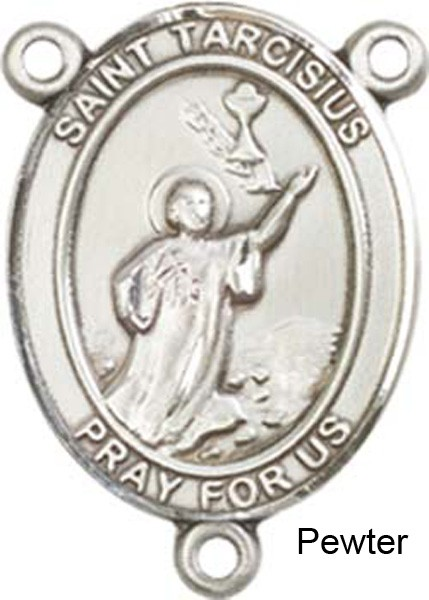St. Tarcisius Rosary Centerpiece Sterling Silver or Pewter - Pewter